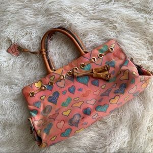 Dooney Bourke Pink Hearts Canvas Mini Purse